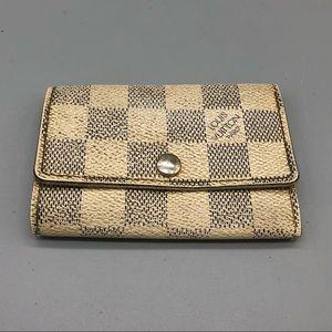 Authentic Louis Vuitton damier azure 6 key holder